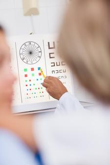 Painel de exames de olho sendo apontado por um médico em um hospital