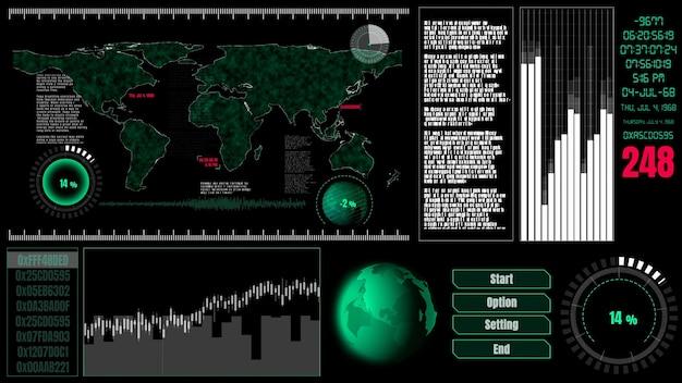 Painel de interface de usuário futurista para análise de big data no gráfico de informações
