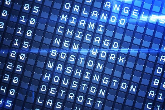 Painel de partidas azul para grandes cidades dos eua