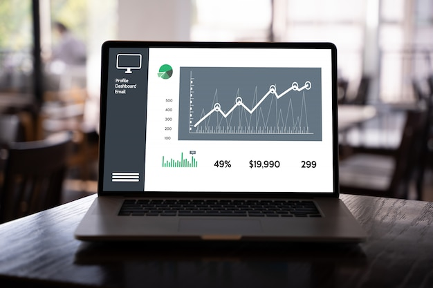 Painel de vendas de marketing de cliente conceito de gráficos homem de negócios vendas aumentar as ações de receita