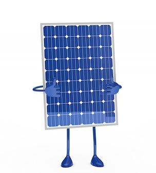 Painel solar com polegares acima