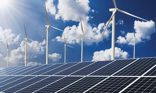 Painel solar do conceito do poder da energia limpa com turbina de vento e fundo do céu azul