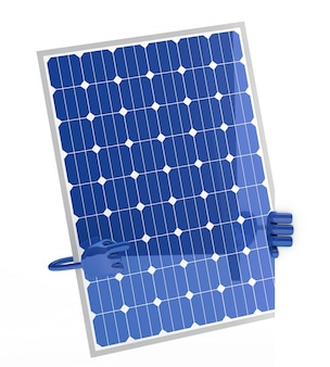 Painel solar segurando uma placa em branco