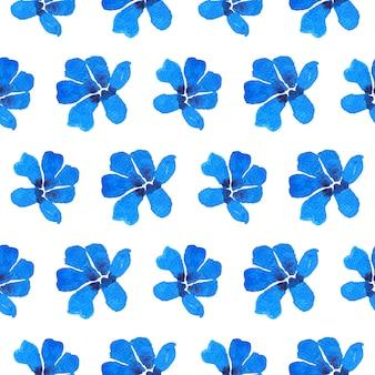 Paing de aquarela de flores azuis em padrão sem emenda com traçado de recorte