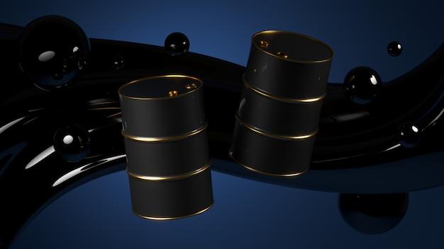 Pairando barris pretos com aros dourados perto de grande fluxo e gotas de petróleo