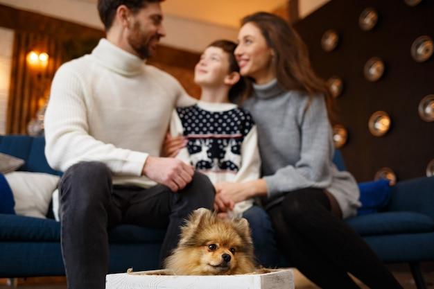 Pais apresentando caixa de presente com cachorro pomeranian spitz para filho fofo. família feliz, passando a manhã de natal juntos. férias de inverno, celebrações do natal, conceito de ano novo.