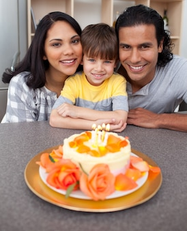 Pais, criança, estilo de vida, alegre, doces, pessoa