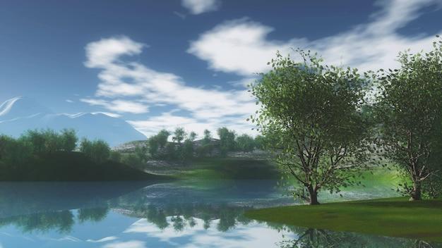 Paisagem 3d com árvores em colinas ao lado do rio