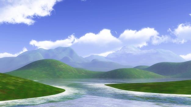 Paisagem 3d com colinas gramadas e azul céu nublado