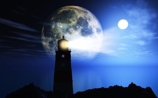Paisagem 3d com farol contra a lua