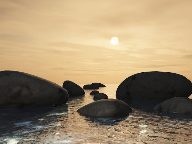 Paisagem 3d com trampolins em um oceano contra um céu do por do sol