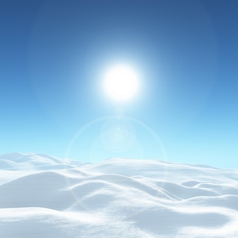 Paisagem 3d ensolarada do inverno nevado