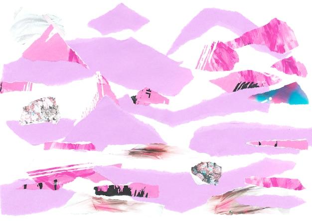 Paisagem abstrata das montanhas do moodboard de papel.