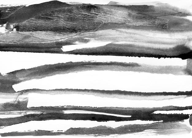 Paisagem abstrata tinta mão ilustrações desenhadas. paisagem de inverno tinta preto e branco com o rio. mão minimalista desenhada