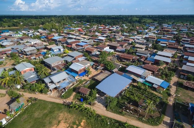 Paisagem aérea país aldeia tailândia
