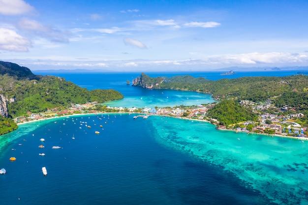 Paisagem, aéreo, vista superior, phi phi, ilha, kra, bi, tailandia, olá