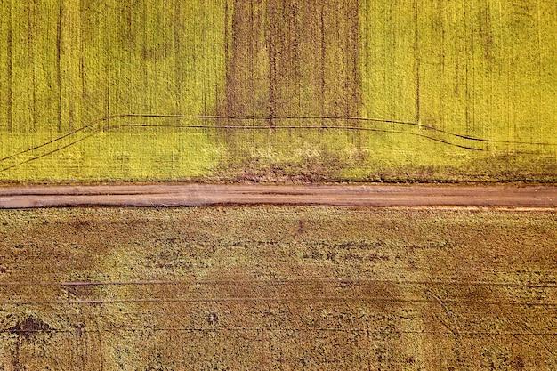 Paisagem agrícola do ar. estrada de terra estreita reta entre campos verdes e marrons ensolarados.