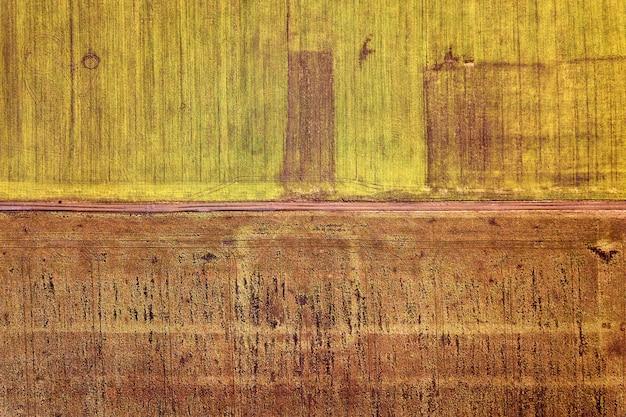 Paisagem agrícola do ar. estrada de terra estreita reta entre o fundo ensolarado de campos verdes e marrons