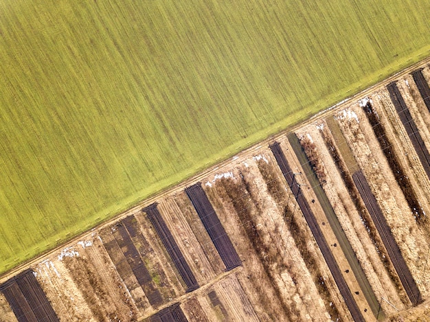 Paisagem agrícola do ar. estrada estreita e reta entre campos verdes ensolarados, secos e marrons.