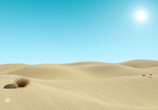Paisagem arenosa vazia do deserto e fundo do céu azul
