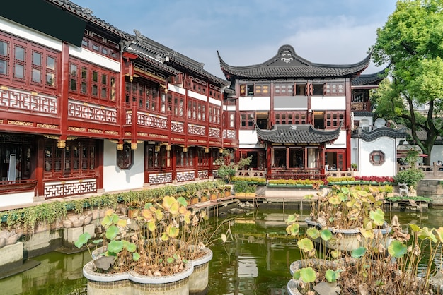 Paisagem arquitetônica antiga do templo de deus da cidade de xangai