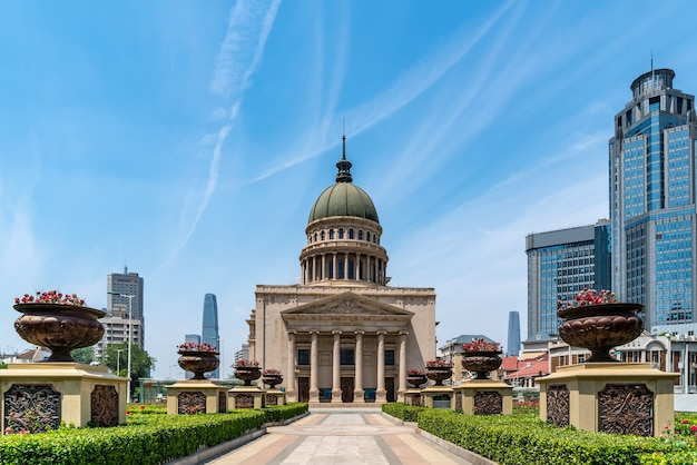 Paisagem arquitetônica do bloco central de tianjin xiaobailou
