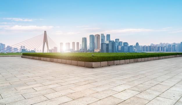 Paisagem arquitetônica moderna e horizonte urbano