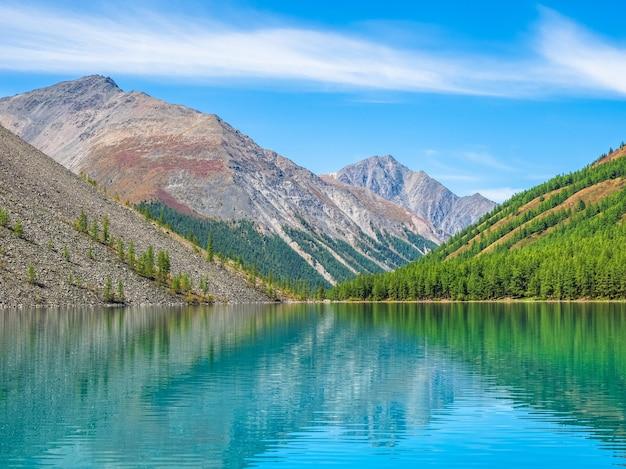Paisagem colorida com lago de montanha clara na floresta entre os abetos no sol. cenário brilhante com belo lago turquesa no contexto das montanhas cobertas de neve.