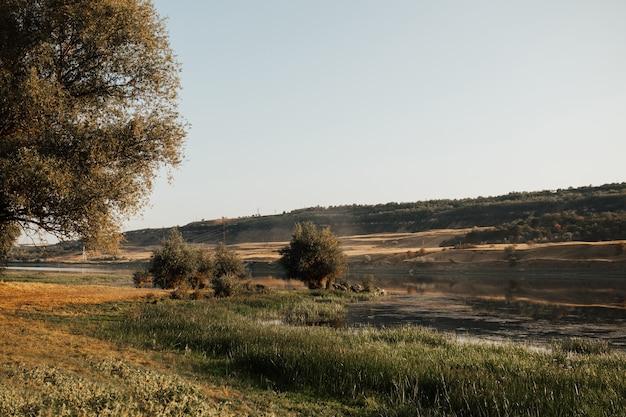 Paisagem com árvores verdes, colinas e rio na zona rural.