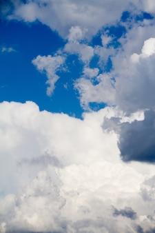 Paisagem, com, céu azul, e, branca, nuvens cumulus