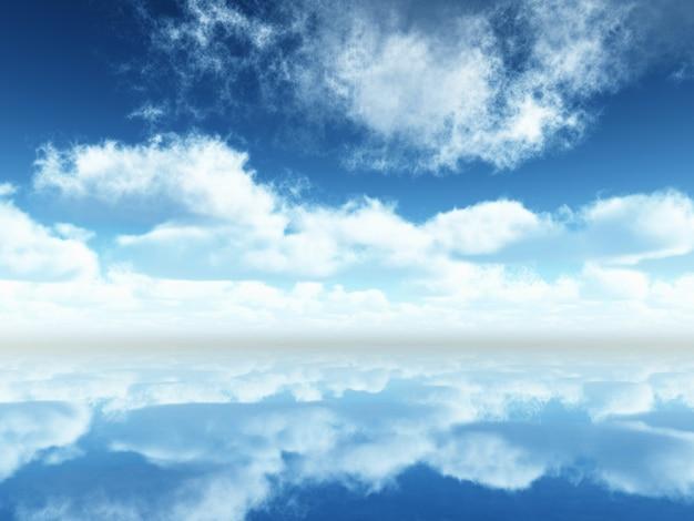 Paisagem com céu azul e nuvens refletidas no calmo mar azul