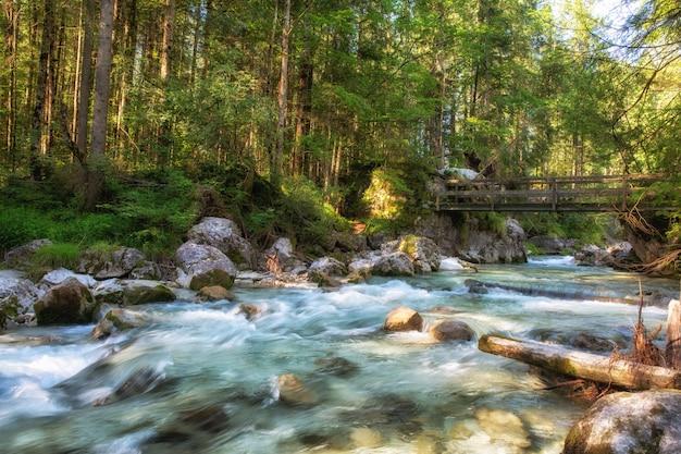Paisagem com montanhas, florestas e um rio na frente. cenário bonito