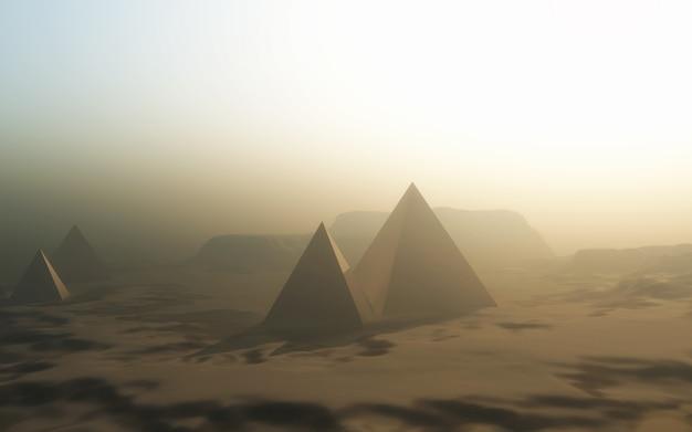 Paisagem com pirâmides no deserto