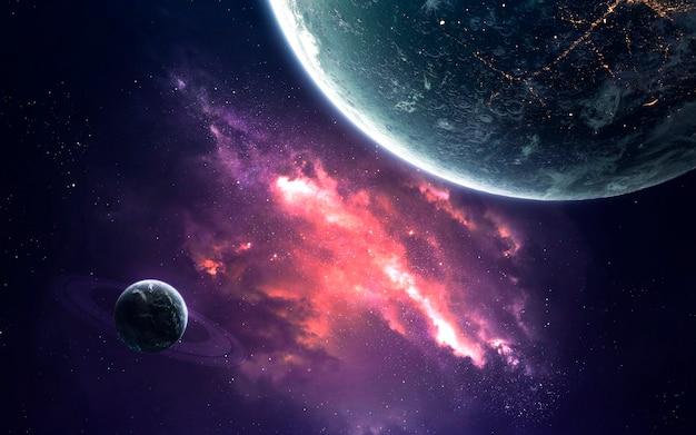 Paisagem cósmica sem fim com bilhões de estrelas e planetas. elementos desta imagem fornecidos pela nasa