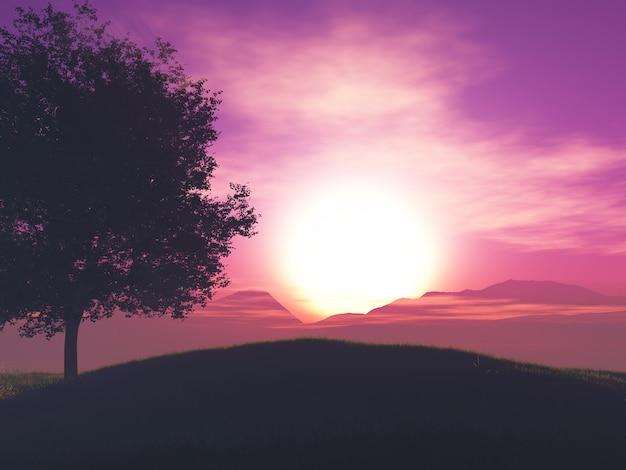 Paisagem da árvore 3d contra um céu pôr do sol