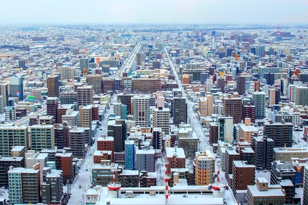 Paisagem da cidade de sapporo no inverno, sapporo, hokkaido, japão