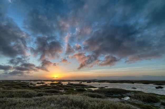 Paisagem da costa coberta de grama cercada pelo mar durante um belo pôr do sol