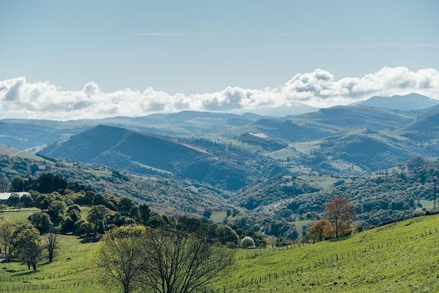 Paisagem da encosta gramada verde do cume da montanha contra o céu azul sem nuvens em um dia ensolarado no vale
