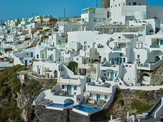 Paisagem da ilha de santorini, fira, cíclades, grécia