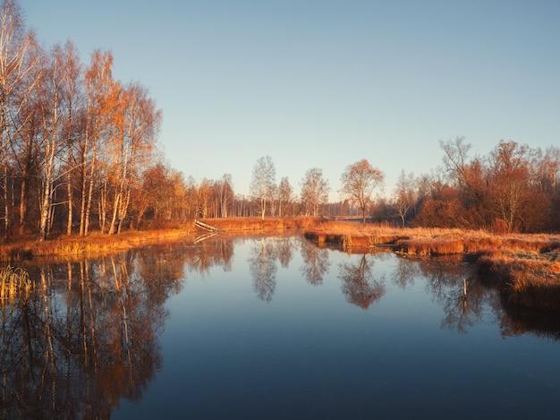 Paisagem da manhã ensolarada com lagoa de outono. foco suave.