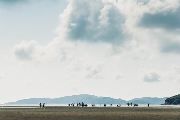 Paisagem da maré baixa com montanha verde, céu com silhuetas de pessoas