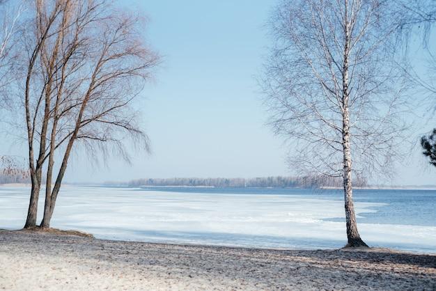 Paisagem da margem do rio coberta de gelo