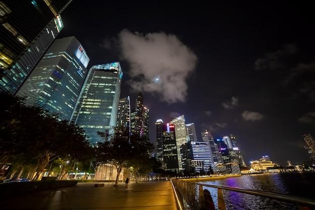 Paisagem da metrópole noturna. arranha-céus iluminados. fundo urbano