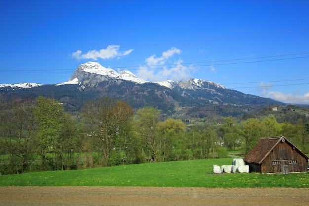 Paisagem da montanha, do esclarecimento da floresta e do campo verde acima de uma vila em suíça.
