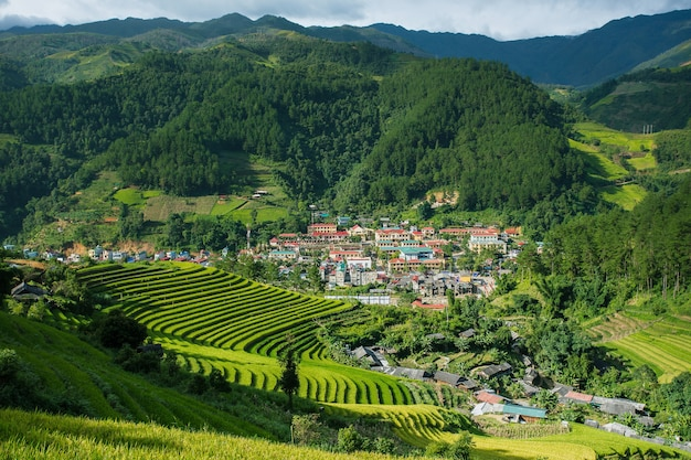 Paisagem da vila do sapa, ao norte de vietname.