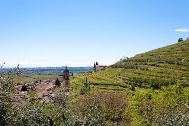 Paisagem das colinas de valpolicella, área de viticultura italiana, itália