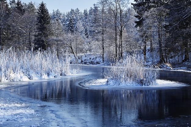 Paisagem das montanhas e lago coberto de neve
