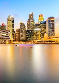 Paisagem, de, a, distrito financeiro cingapura, e, edifício negócio