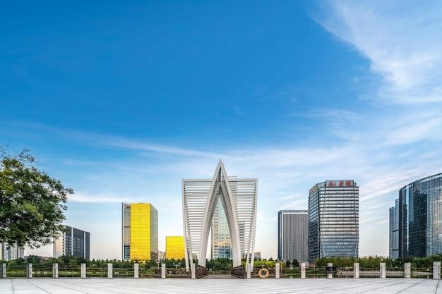 Paisagem de arquitetura urbana moderna em zibo, china