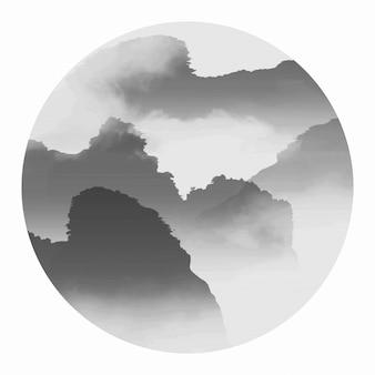 Paisagem de arte de névoa material de rochas